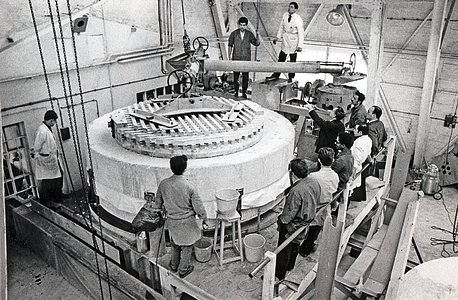 The ESO 3.6-metre telescope under construction