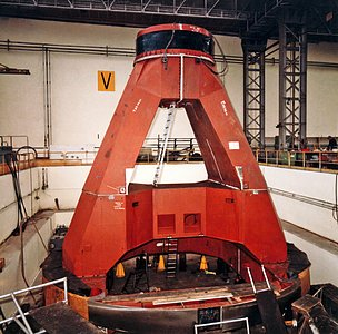 The ESO 3.6-metre telescope construction