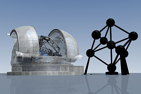 E-ELT vs. the Atomium (artist's impression)