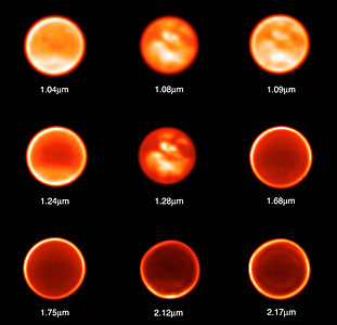 Titan Observed Through Nine Different Filters on November 26, 2002