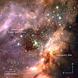 Stellar cluster and star-forming region M 17 (annotated)