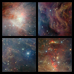 Extracts from the VISTA infrared image of the Orion Nebula
