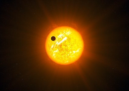 Artist's impression of an exoplanet in a retrograde orbit (without additional graphics)