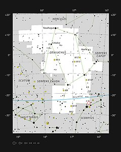 The constellation Ophiuchus, showing the Rho Ophiuchi star formation region