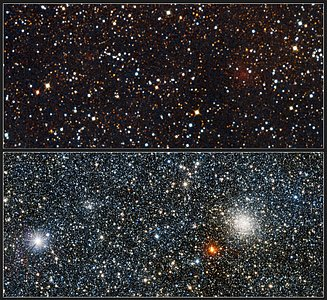 Visible/infrared comparison views of the newly discovered globular cluster VVV CL001