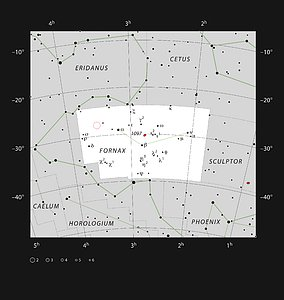 The position of the Extended Chandra Deep Field South in the constellation of Fornax