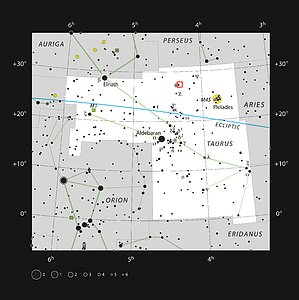 Diagram showing the position of Barnard 211 and Barnard 213 in Taurus