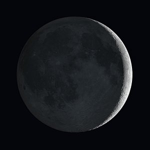 Artists's impression of the Moon showing earthshine