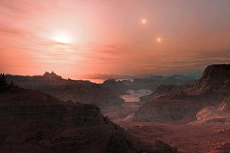 Impresión artística de un atardecer en la súper-Tierra Gliese 667 Cc