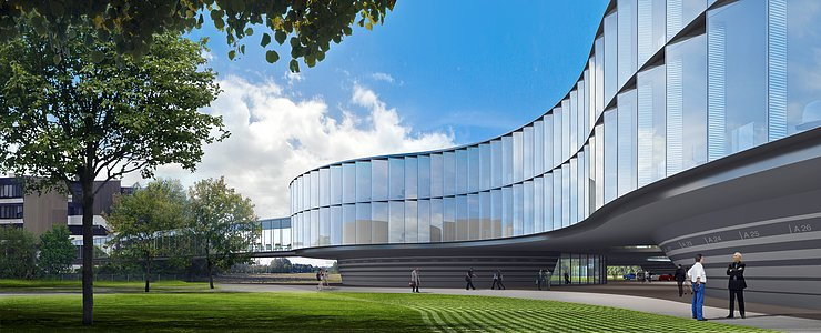Architect's rendering of the new ESO Headquarters Extension (daytime)