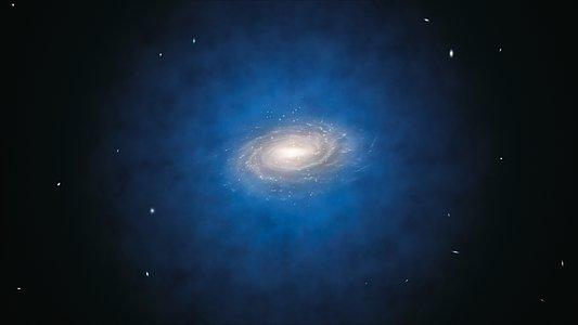 Impresión artística de la distribución de materia oscura que supuestamente debería encontrarse alrededor de la Vía Láctea