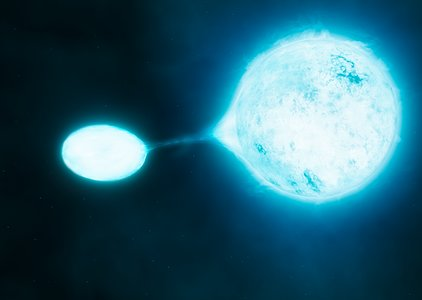 Artist's impression of a vampire star and its victim