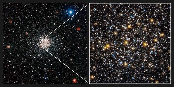Comparación de imágenes del cúmulo globular de estrellas NGC 6362 de WFI y Hubble