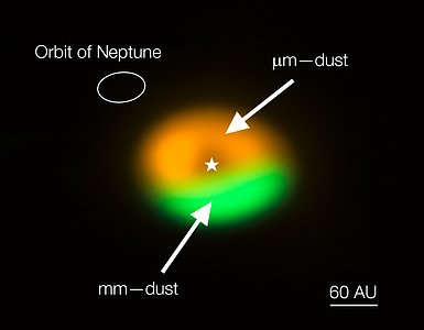 ALMA image of dust trap/comet factory around Oph-IRS 48 (annotated)