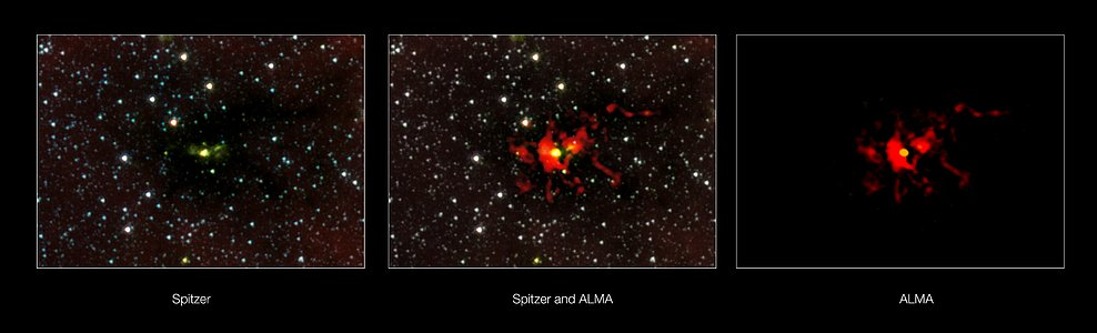 The birth of a monster star seen at different wavelengths of light