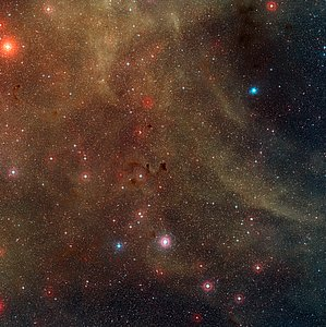 Wide-field view of the star-forming region around the Herbig-Haro object HH 46/47