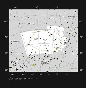 Gum 15 in the constellation of Vela