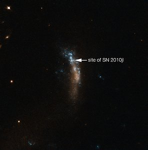The dwarf galaxy UGC 5189A, site of the supernova SN 2010jl (annotated)