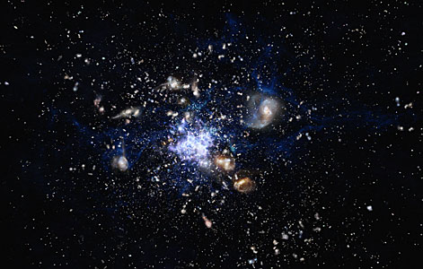 Impresión artística de un protocúmulo en formación en el universo temprano