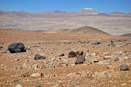 Distant view of work on Cerro Armazones