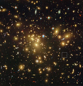 Location of the distant dusty galaxy  A1689-zD1 behind the galaxy cluster Abell 1689 (annotated)