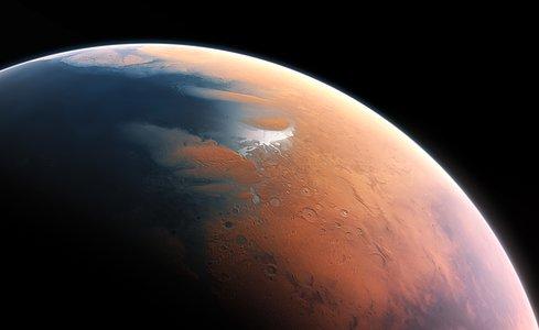 Artist's impression van Mars, vier miljard jaar geleden