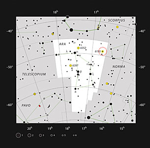 The open star cluster NGC 6193 in the constellation of Ara