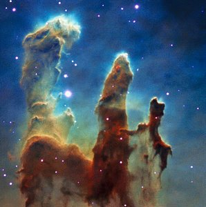 Colour composite view of the Pillars of Creation from MUSE data