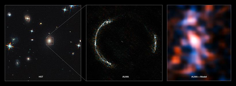 Composición del anillo de Einstein de SDP.81 y de la galaxia observada a través de la lente gravitatoria