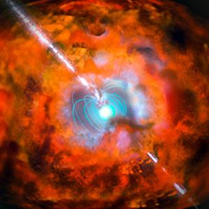 Ilustración de un estallido de rayos gamma y una supernova alimentada por un magnetar