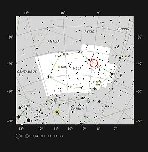 The aging double star IRAS 08544-4431 in the constellation of Vela (The Sails)