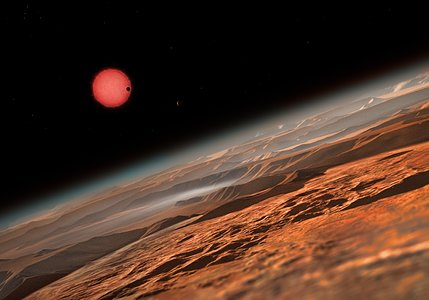 Artist's impression of the ultracool dwarf star TRAPPIST-1 from close to one of its planets
