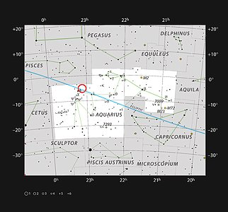 The ultracool dwarf star TRAPPIST-1 in the constellation of Aquarius