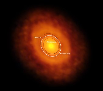 ALMA image of the protoplanetary disc around V883 Orionis (annotated)