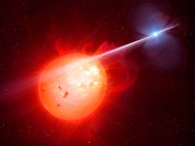 Artist's impression of the exotic binary star system AR Scorpii