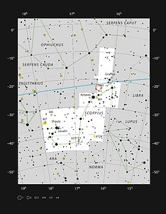AR Scorpii in the constellation of Scorpius