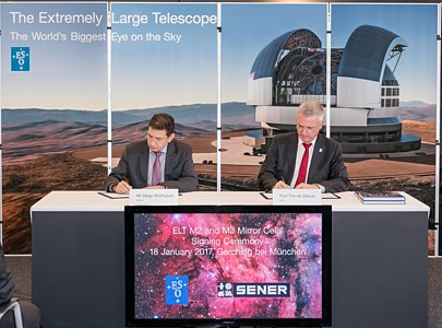 Signature of contract with SENER for the ELT's M2 and M3 mirror cells
