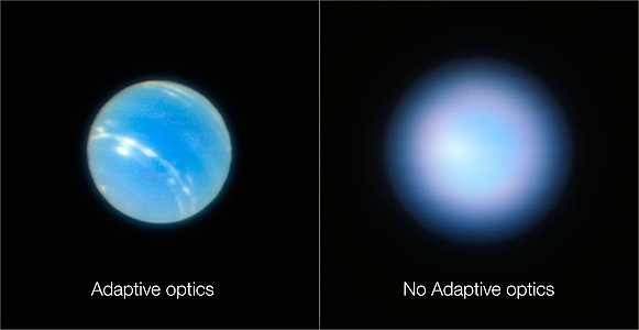 Imágenes de Neptuno obtenidas por el VLT con y sin óptica adaptativa