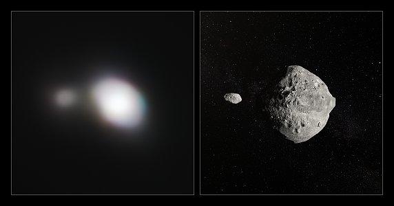 Observaciones de SPHERE junto a una representación artística del asteroide 1999 KW4