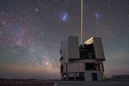 Laser light amongst the Magellanic Clouds
