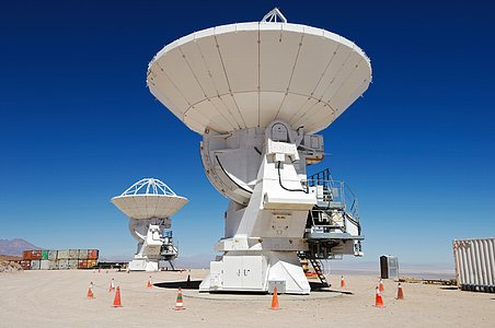 ALMA antennas waiting at the OSF