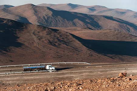 Water truck going to Paranal