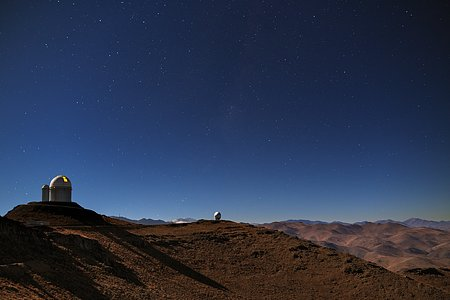 Glowing ESO 3.6-metre telescope at La Silla