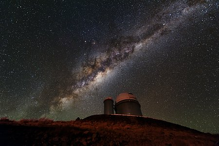 Milky Way lighting the ESO 3.6-metre telescope