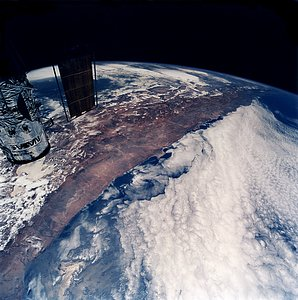 The Hubble Space Telescope Flies Over South America