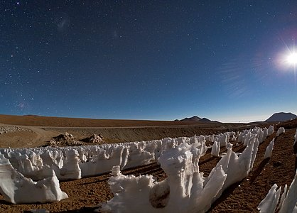 Isspidser i måneskin på Chajnantor