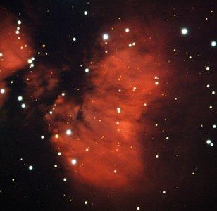 Estrellas jóvenes envueltas en capullos rojizos