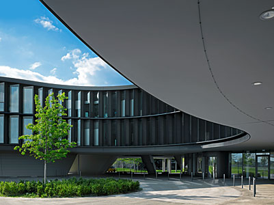 A curved new building