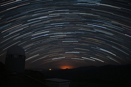 Startrails hanging over La Silla