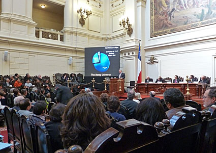 Brian Schmidt speaking at the Chilean Senate